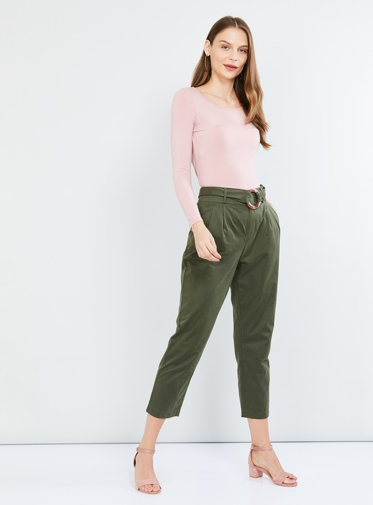 MAX Solid Pleated Cropped Pants with Belt
