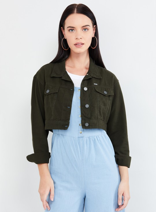 MAX Solid Denim Jacket with Flap Pockets