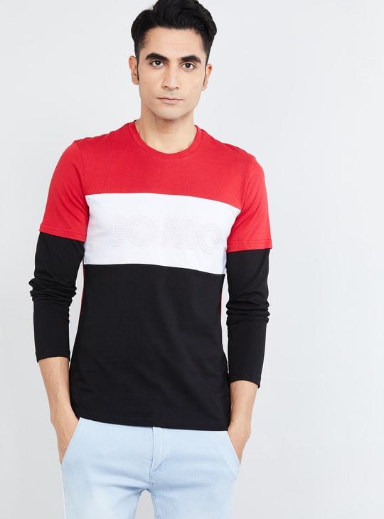 MAX Colourblock Full Sleeves Slim Fit T-shirt