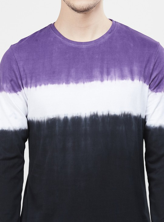MAX Colourblocked Full Sleeves T-shirt with Crew Neck