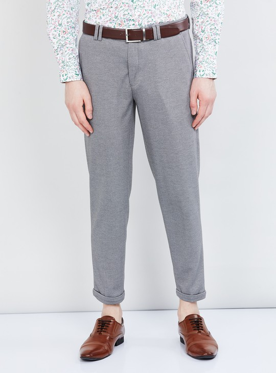 MAX Textured Trousers with Folded Hem