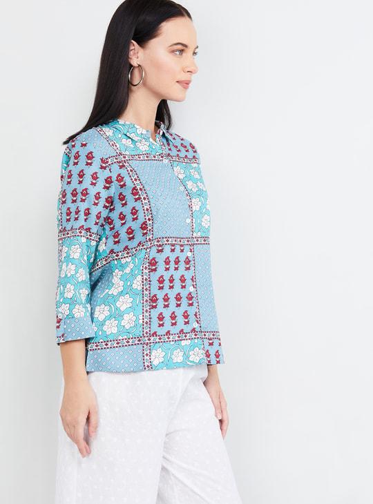 MAX Floral Print Three-quarter Sleeves Shirt