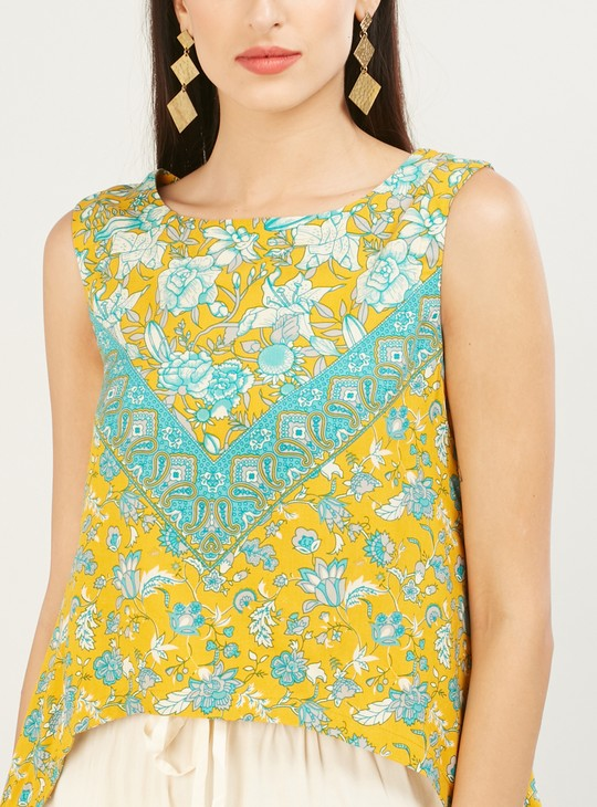 MAX Floral Print Sleeveless Top with Dipped Hems