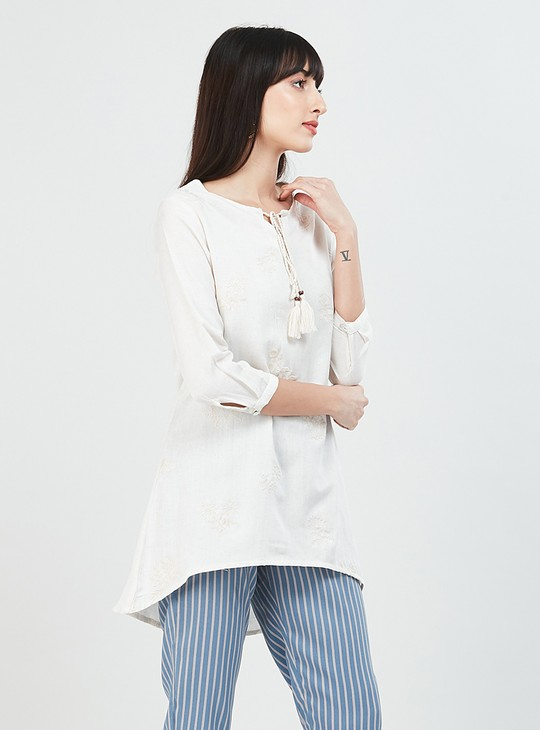 MAX Embroidered High-Low A-line Tunic with Tasselled Tie-Up