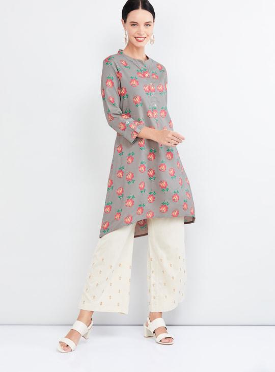 MAX Floral Print Three-Quarter Sleeves Tunic