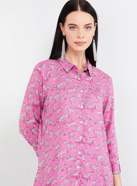 MAX Roll-Up Sleeves Printed Shirt Tunic