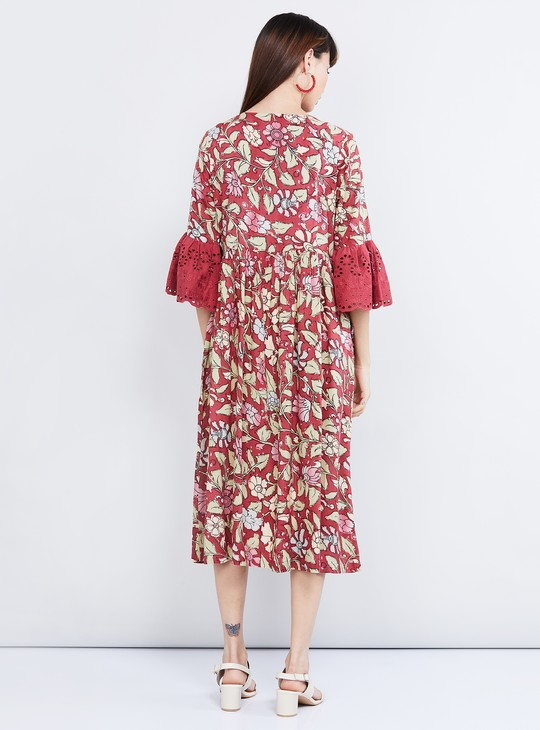 MAX Floral Print Midi Dress with Bell Sleeves