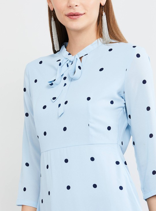 MAX Polka-Dot Print A-line Dress with Tie-Up