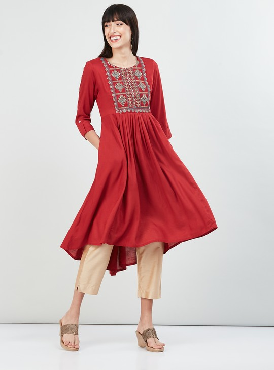 MAX Embroidered High-Low A-line Kurta