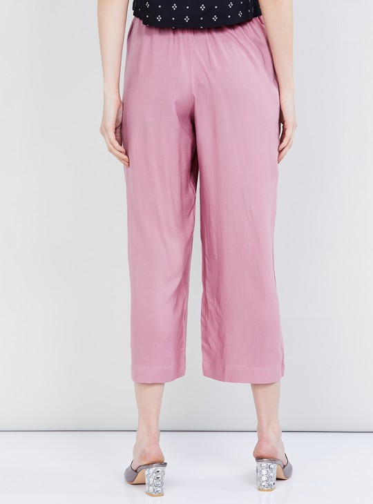 MAX Solid Cropped Pants with Elasticated Closure