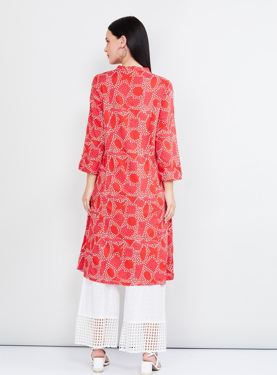 MAX Printed Three-Quarter Sleeves Eco Liva Kurta