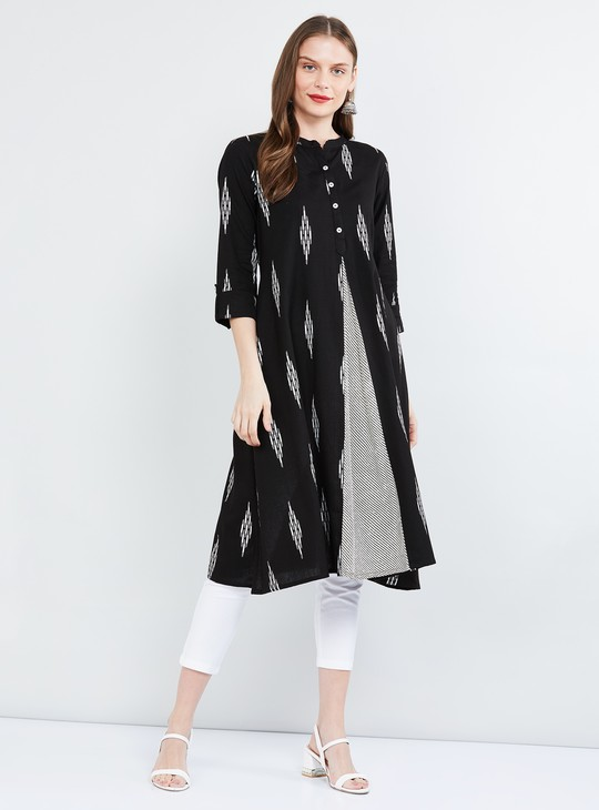MAX Roll-Up Sleeves Printed A-line Kurta