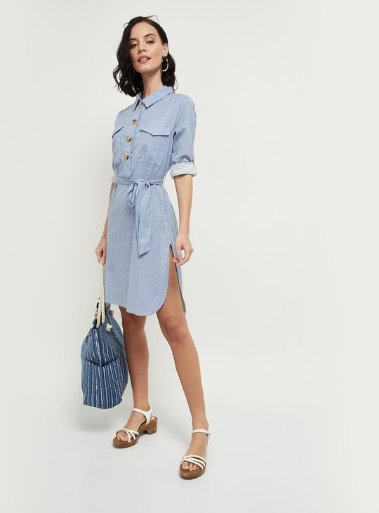 MAX Striped Shirt Dress with Sash Tie-Up