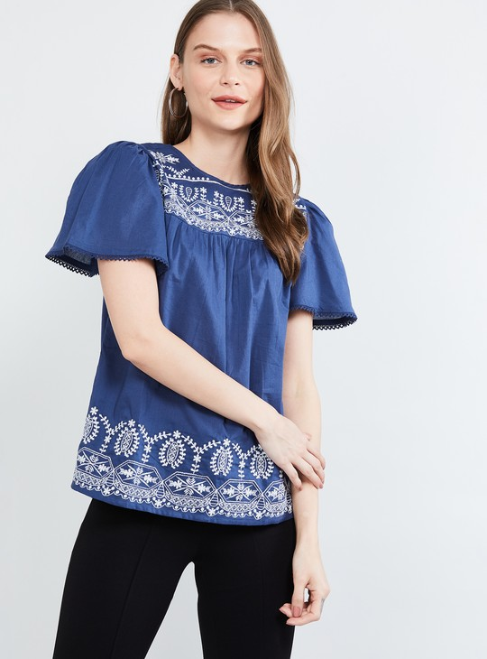 MAX Embroidered Flutter Sleeves Top