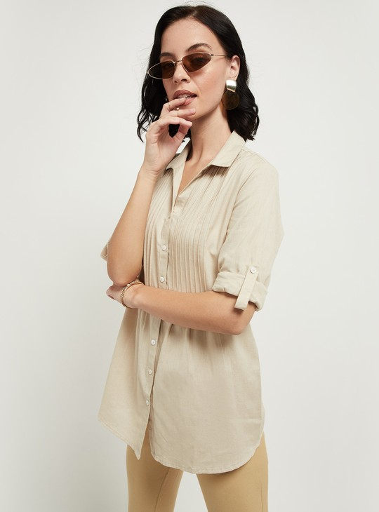 MAX Solid Pintucked Detail Full Sleeves Shirt