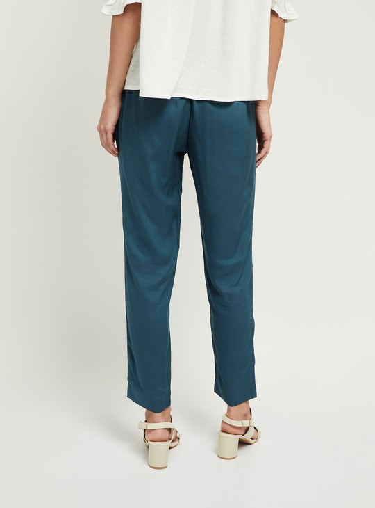 MAX Solid Ankle-Length Straight Pants