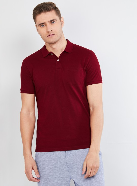 MAX Solid Slim Fit Polo T-shirt with Patch Pocket
