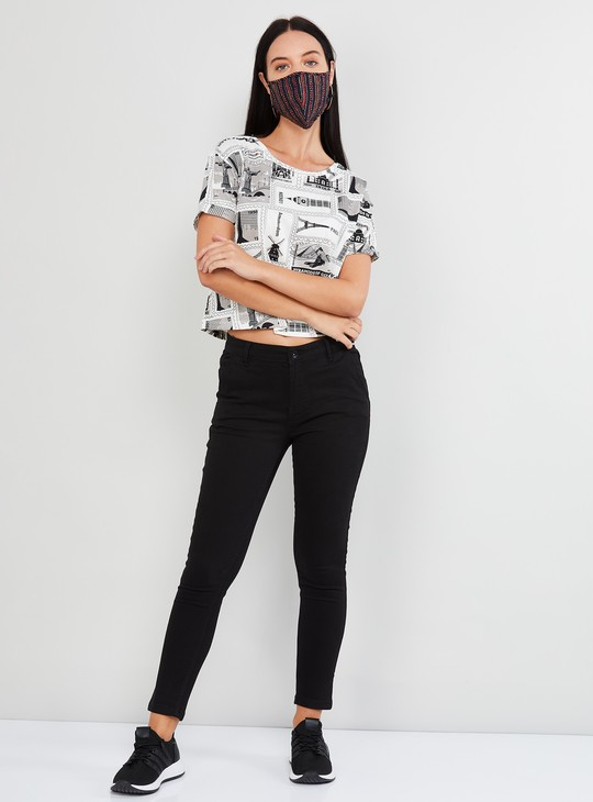 MAX Printed Round Neck Cropped T-shirt