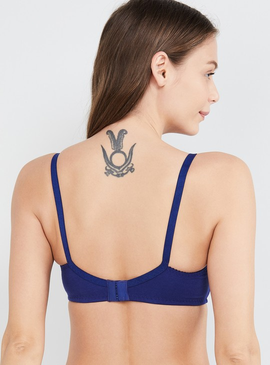 MAX Solid Padded Bra with Lace Detail