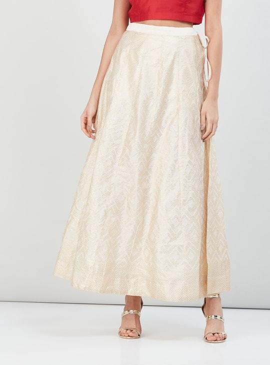 MAX Foil Print Flared Maxi Skirt