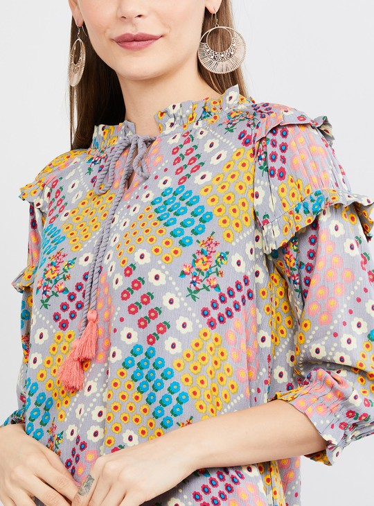 MAX Floral Print Eco Liva Top with Tasselled Tie-Up