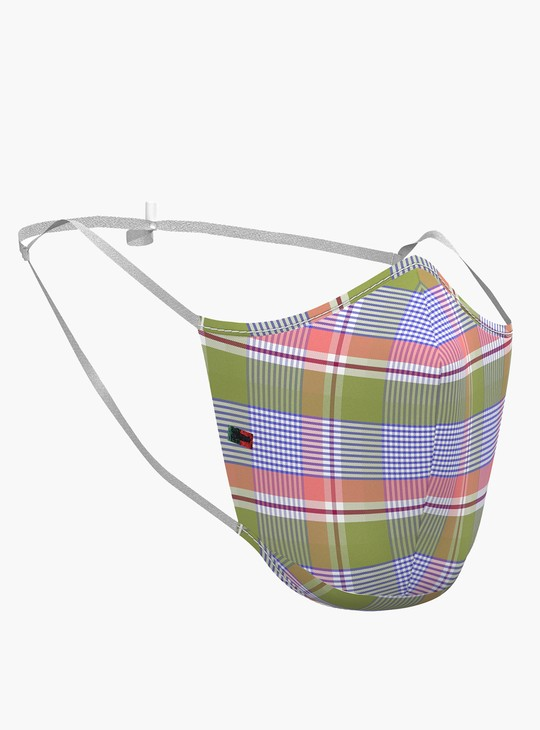 PETER ENGLAND Unisex Checked 3-Layered Reusable Face Masks - Pack of 3