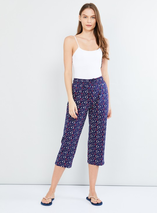 MAX Drawstring Waist Capris with All-Over Print
