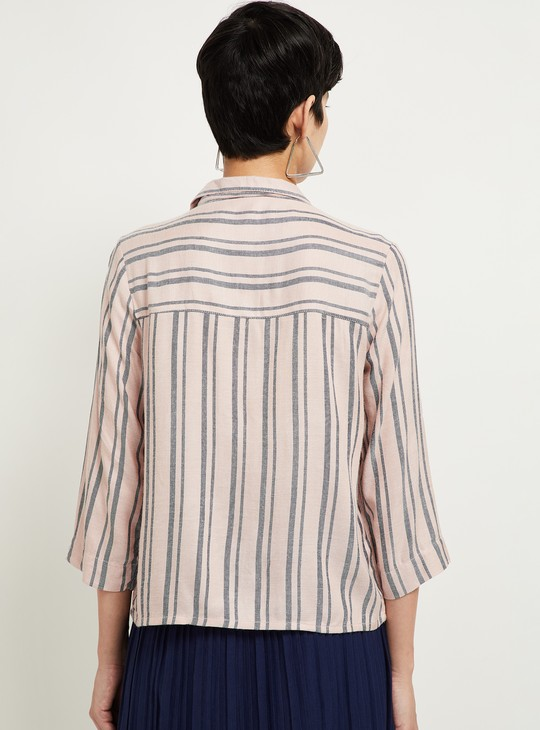 MAX Striped Roll-Up Sleeves Casual Shirt
