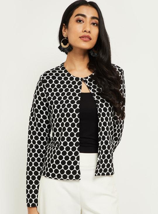 MAX Polka-Dot Print Open-Front Jacket