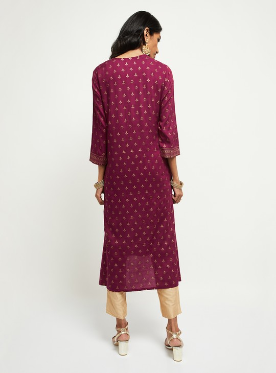 MAX Printed Straight Kurta with Tasselled Tie-Up
