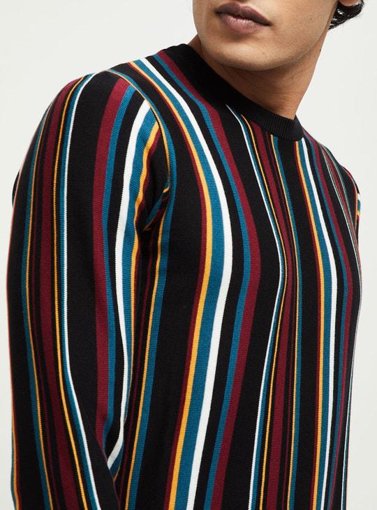 MAX Striped Flat-Knit Full Sleeves T-shirt