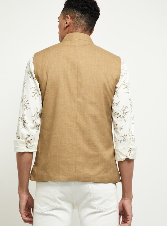 MAX Solid Button-Down Nehru Jacket