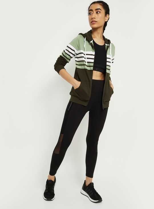 MAX Striped Colourblock Zip-Front Hooded Jacket