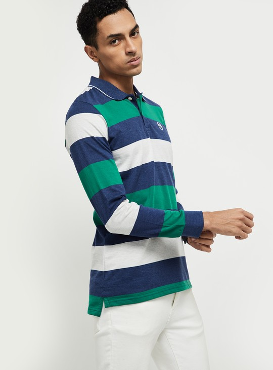 MAX Striped Full Sleeves Regular Fit Polo T-shirt
