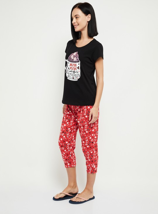 MAX Printed T-shirt with Elasticated Capris