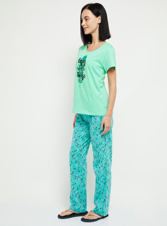 MAX Printed T-shirt and Elasticated Pyjamas