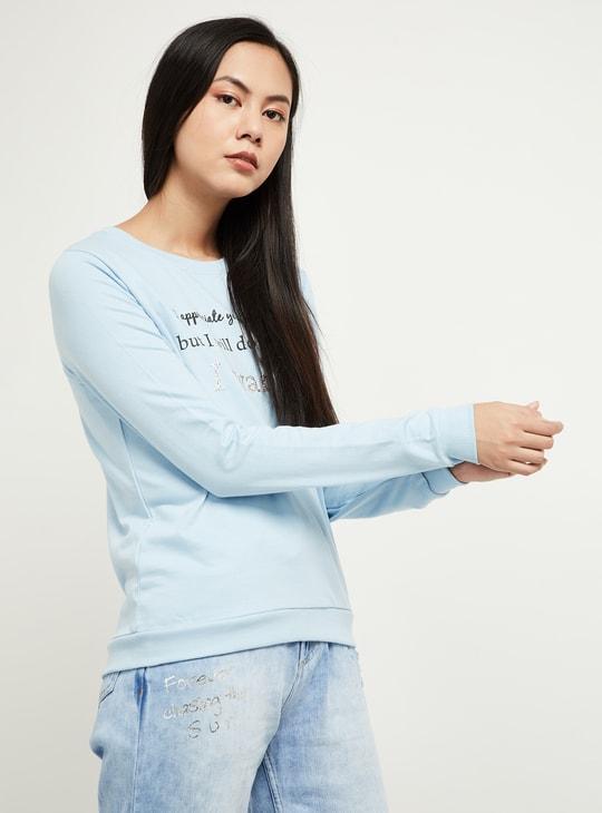 MAX Typographic Print Sequinned Sweatshirt