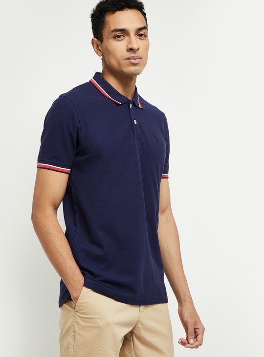 MAX Textured Polo T-shirt with Contrast Tipping