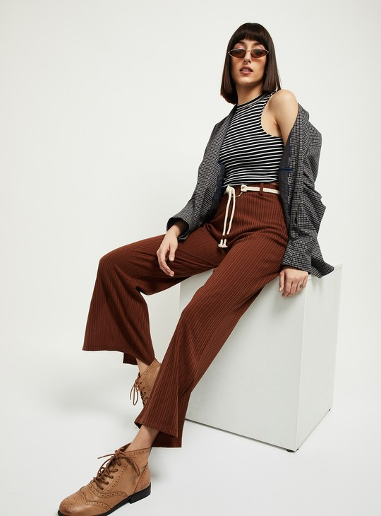 MAX Ribbed Flared Trousers with Tie-Up