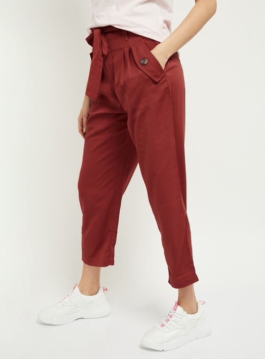 MAX Solid Pleat-Front Cropped Trousers