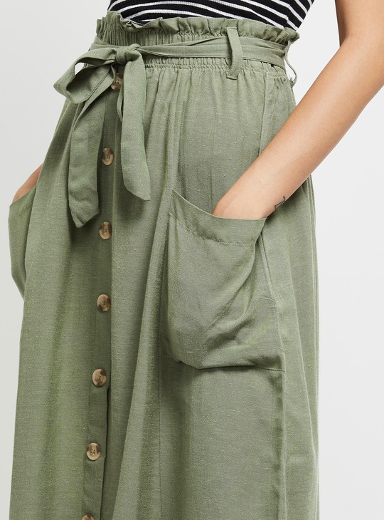 MAX Solid A-line Skirt with Button Placket