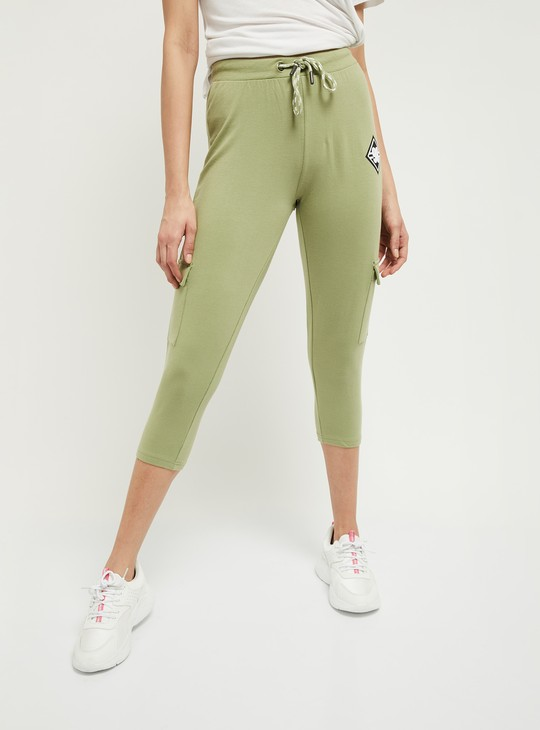 MAX Solid Capris with Flap Pockets