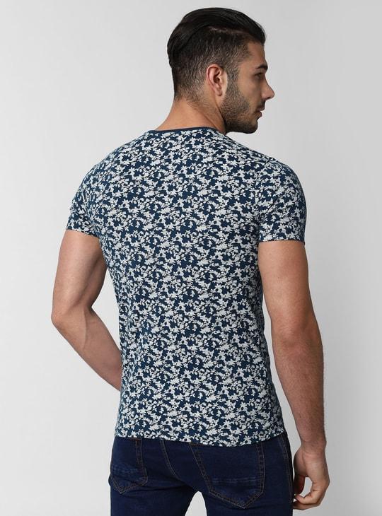 PETER ENGLAND Floral Print Slim Crew-Neck T-shirt