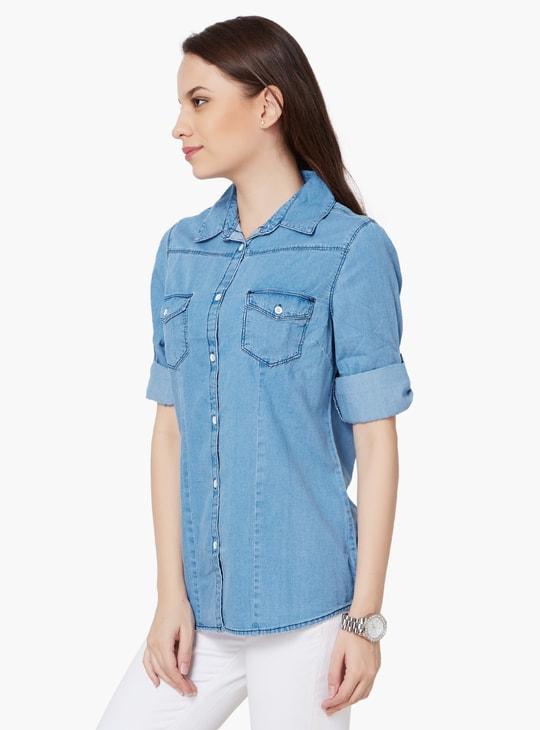 MAX Roll-Up Sleeves Denim Shirt