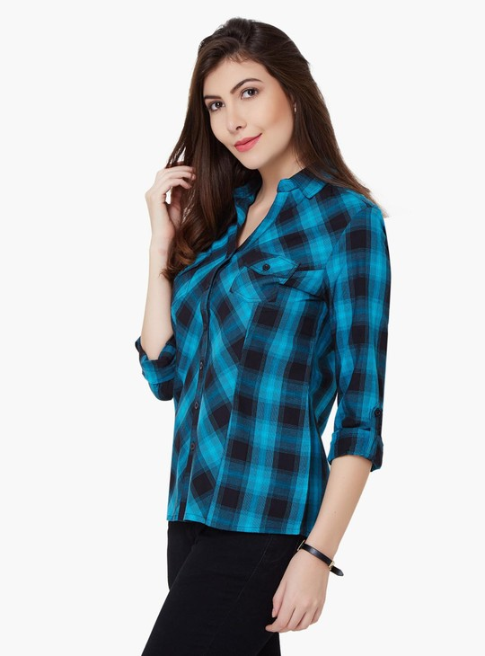 MAX Roll-Up Sleeves Check Tunic