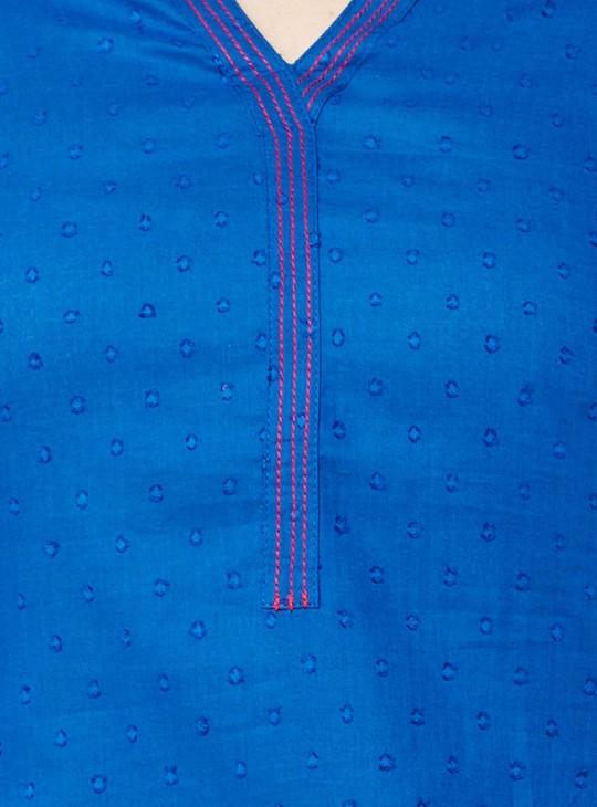 MAX Round Notch Neck Dobby Weave Kurti