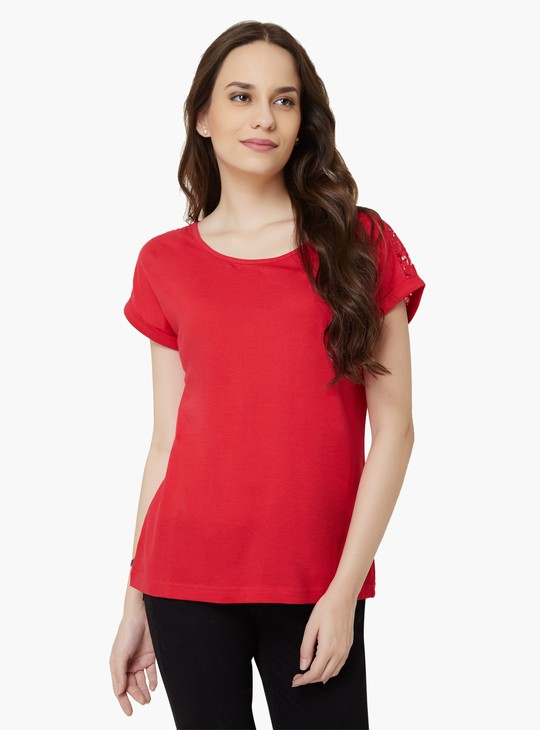 MAX Lacy Shoulder Solid Top