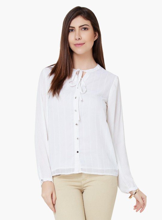 MAX Solid Tie-Up Collar Blouse
