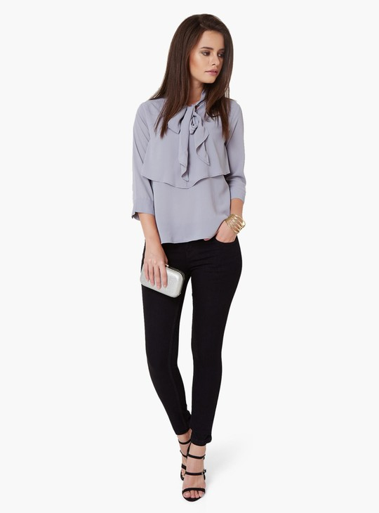 MAX Solid Bow Collar Blouse