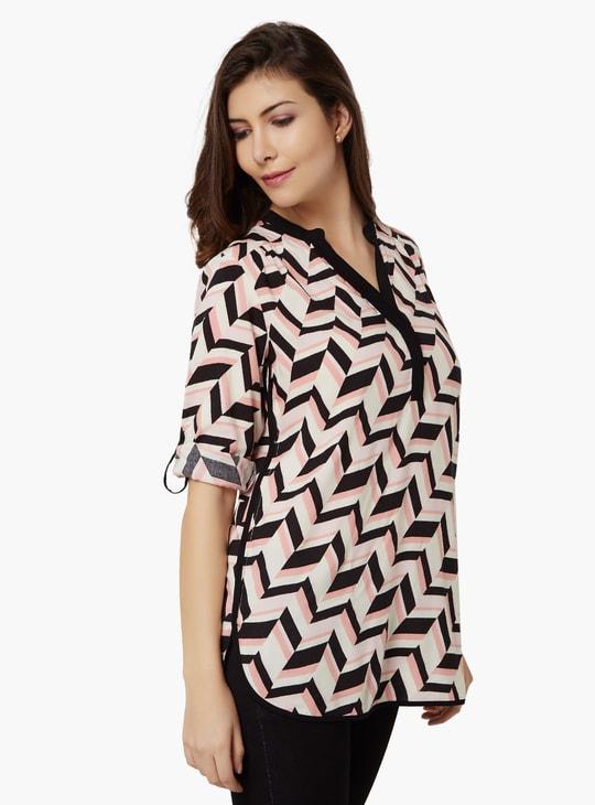 MAX Geometric Print Roll-Up Sleeves Tunic
